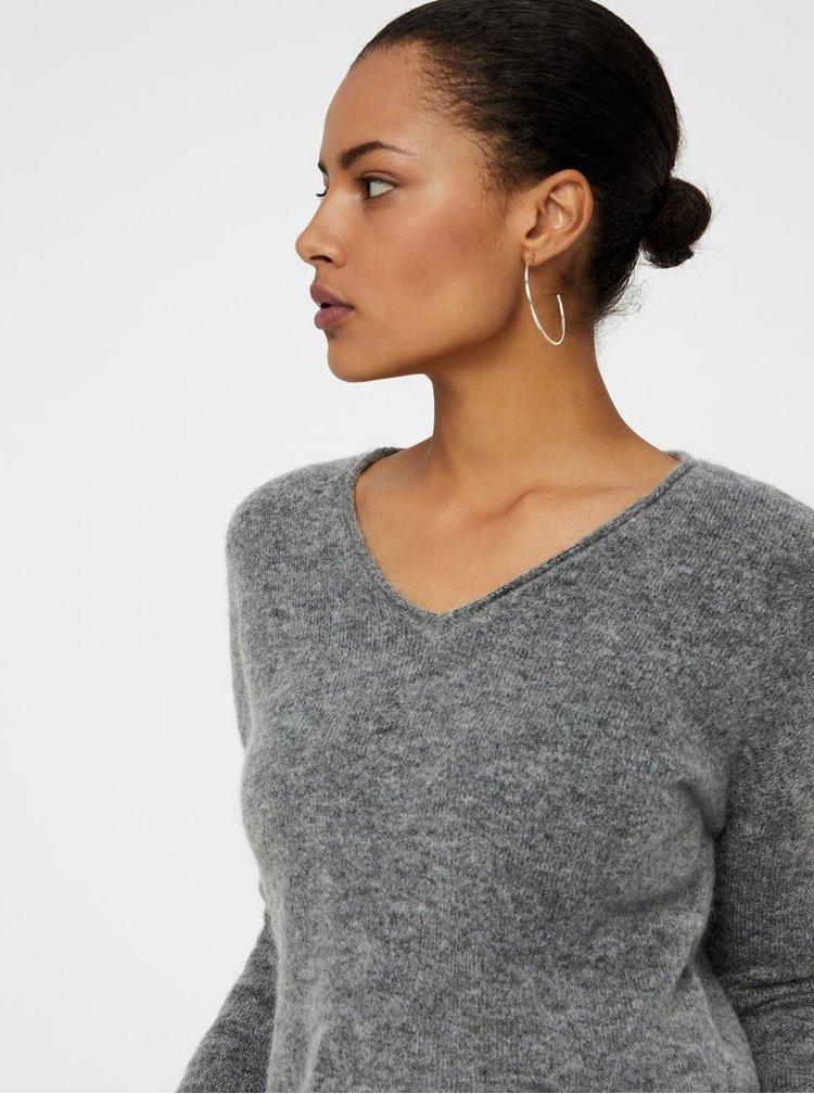 Šedý basic svetr s příměsí vlny VERO MODA Cuddle