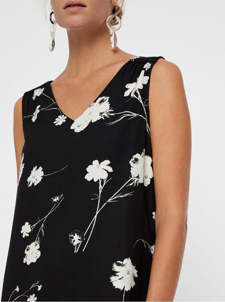 Bluza neagra florala fara maneci VERO MODA Zitta
