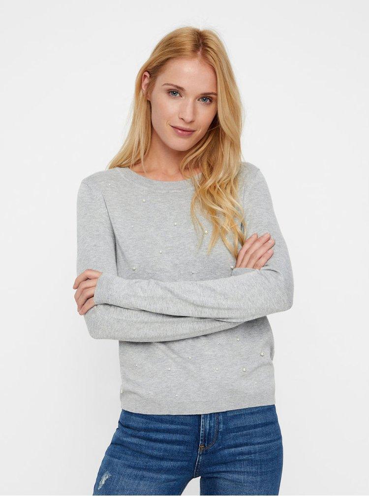 Svetlosivý tenký melírovaný sveter s korálkovou aplikáciou VERO MODA