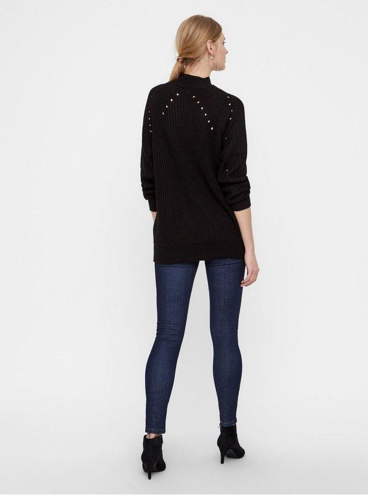 Černý volný svetr s děrovanými detaily VERO MODA Jay