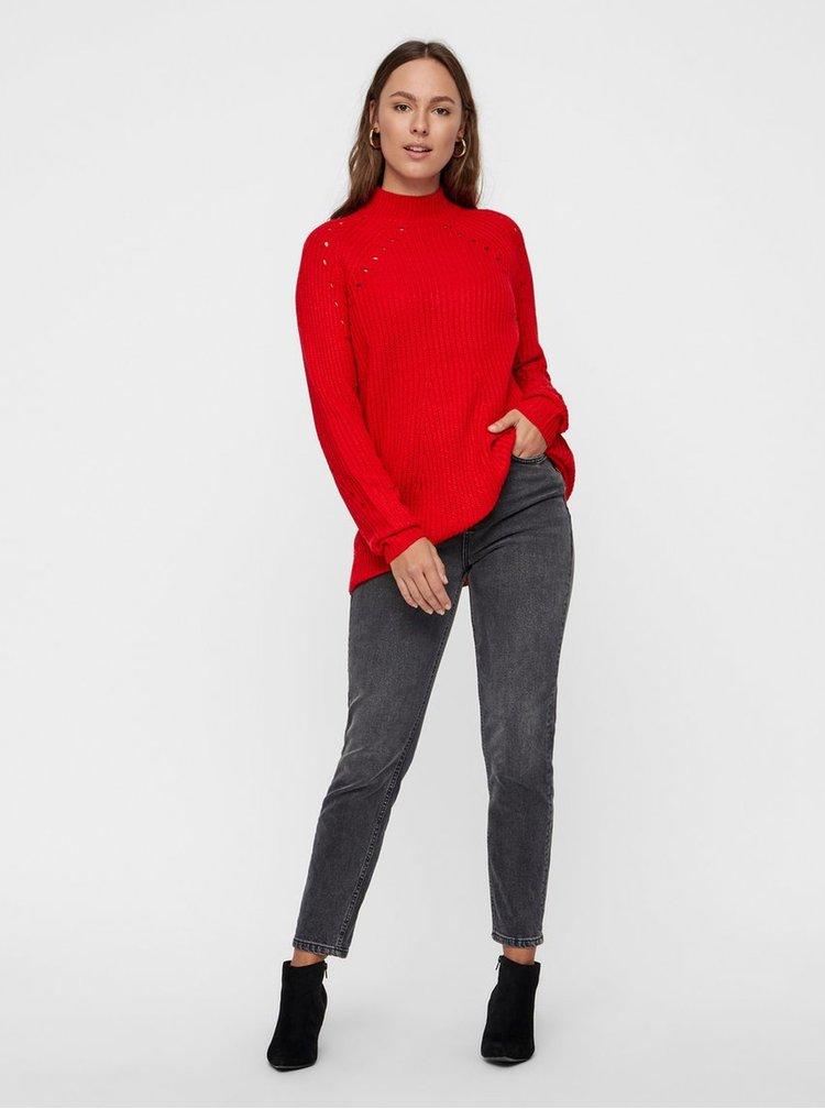Červený volný svetr s děrovaným vzorem VERO MODA Jay