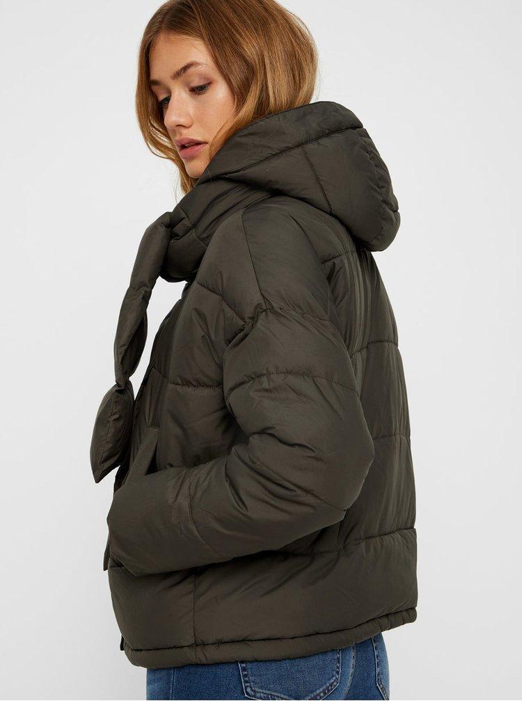Kaki zimná bunda s odopínateľným šálom VERO MODA