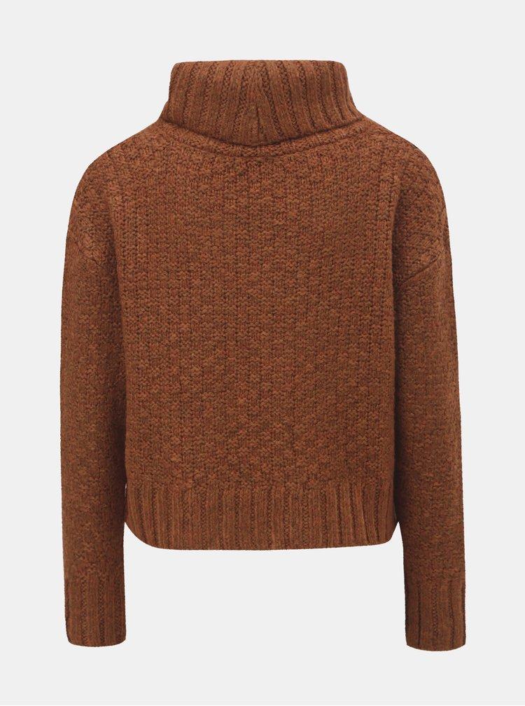 Hnedý oversize krátky sveter s rolákom Miss Selfridge