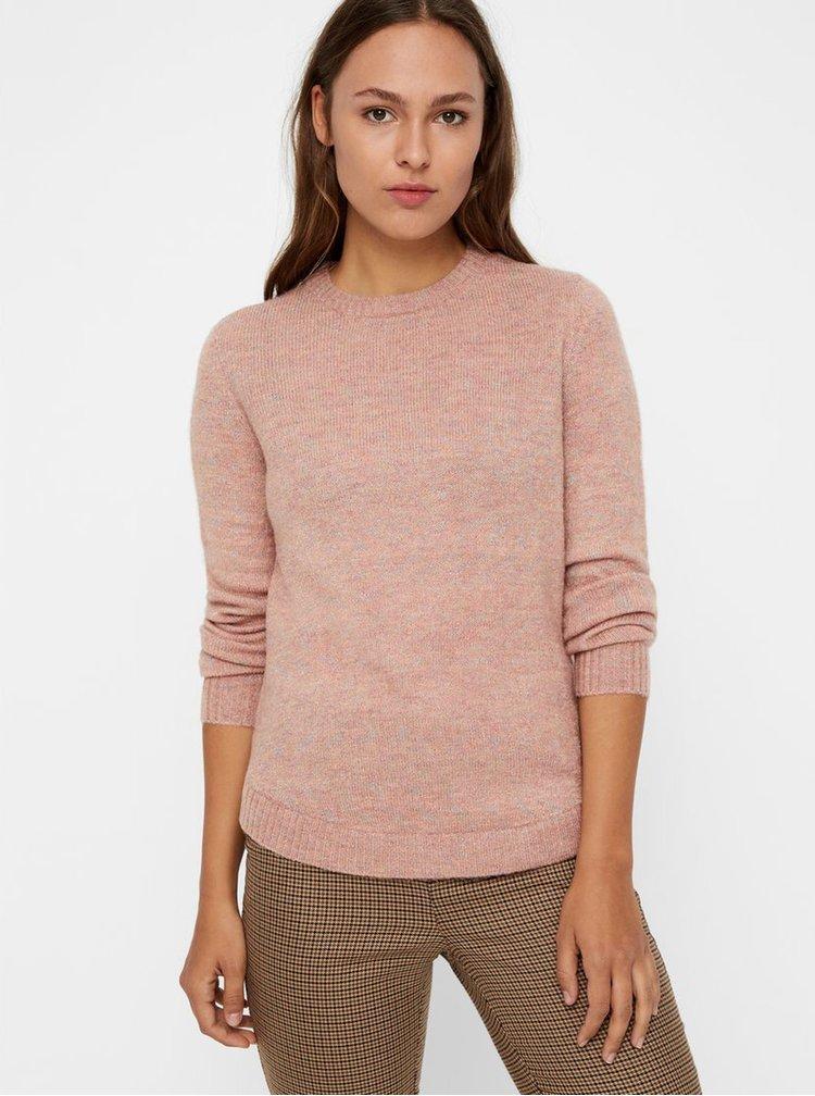 Ružový melírovaný sveter s metalickým vláknom VERO MODA Duarte
