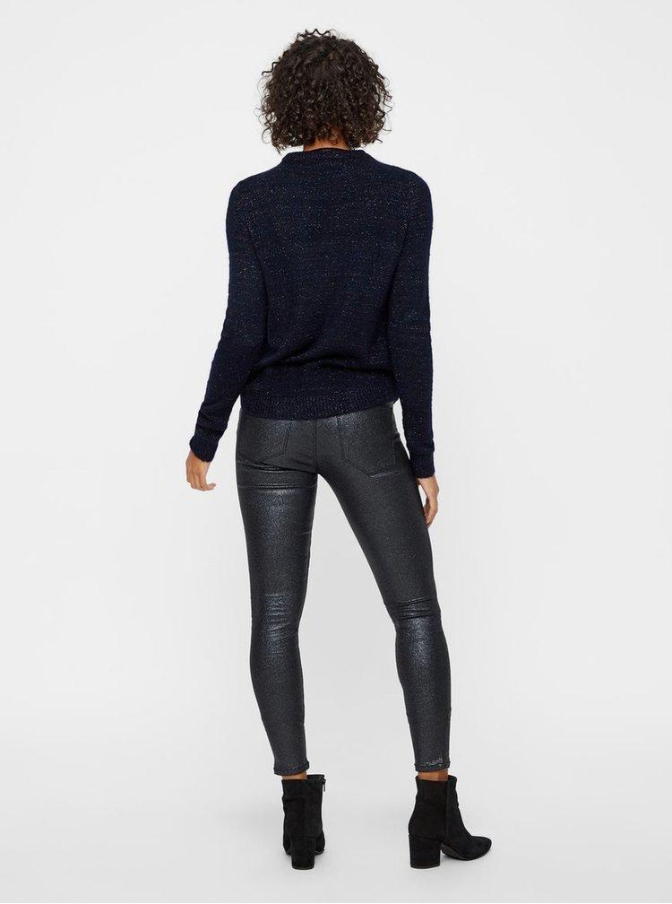 Tmavě modrý žíhaný  svetr s metalickým vláknem VERO MODA Duarte