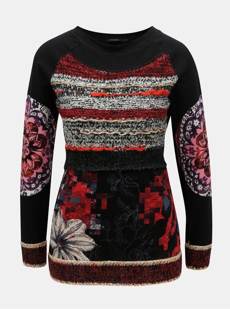 Černé tričko se svetrovými detaily Desigual Milena