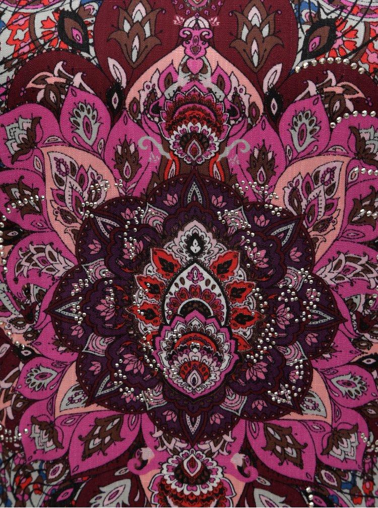 Ružovo–sivé tričko s ozdobnými kamienkami Desigual Sevilla
