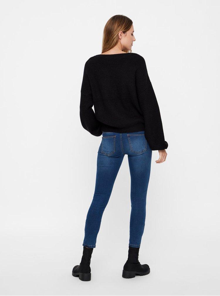 Černý pletený svetr s balónovými rukávy VERO MODA Diva