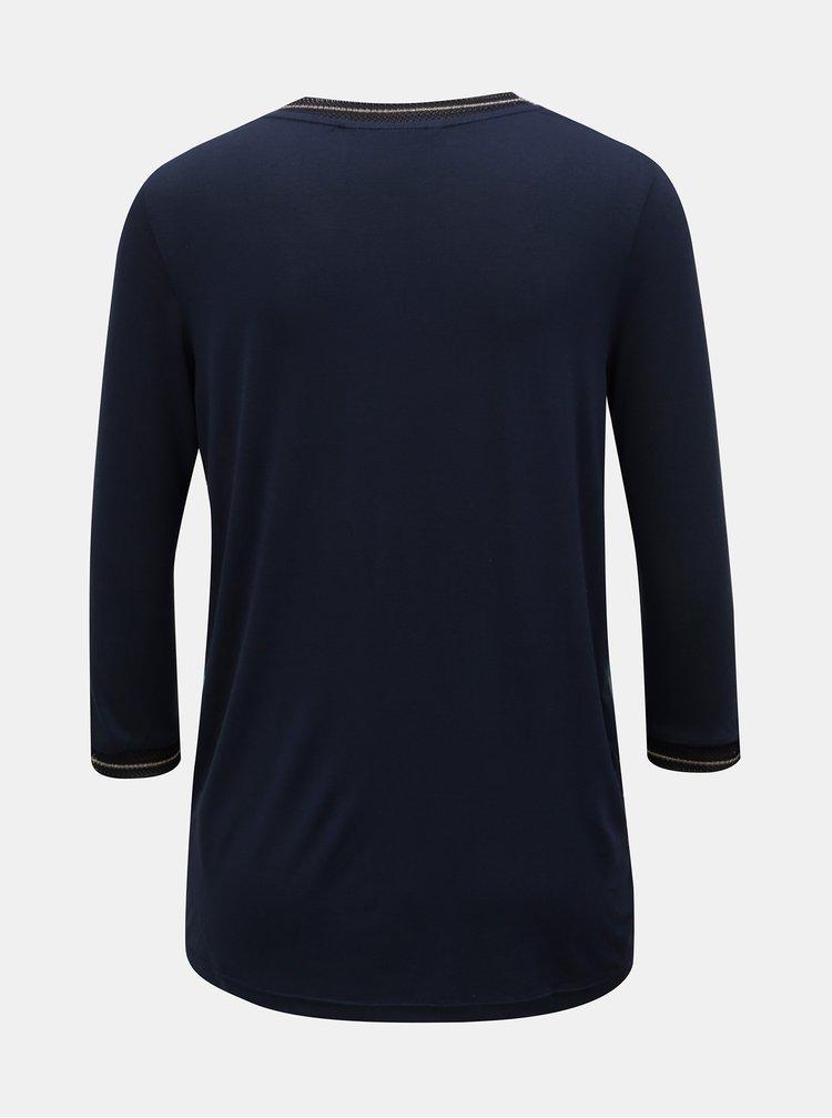 Tmavě modré květované tričko Desigual Recife