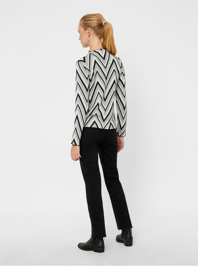 Krémovo-sivý tenký vzorovaný sveter VERO MODA