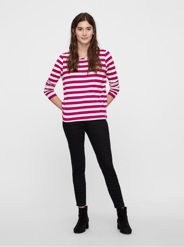 Krémovo–ružové pruhované basic tričko s dlhým rukávom VERO MODA Sonia