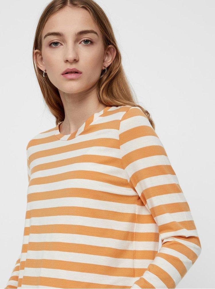Krémovo-oranžové pruhované basic tričko s dlouhým rukávem VERO MODA Sonia