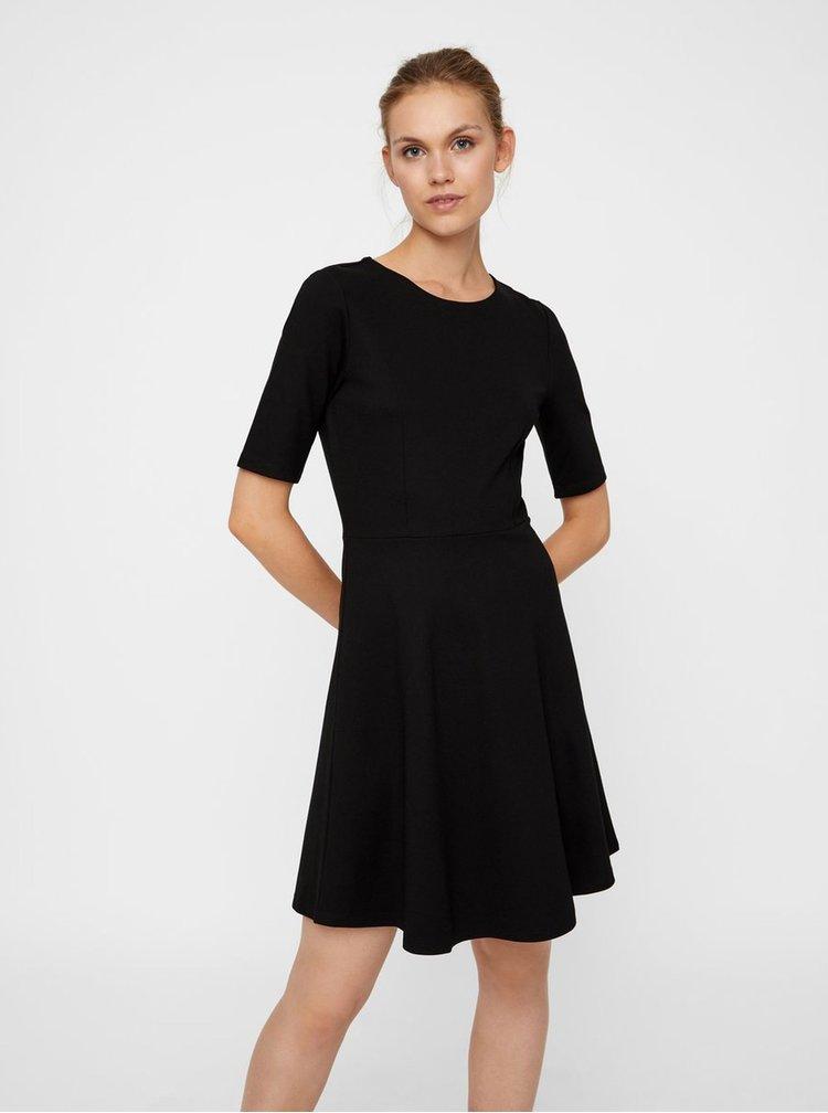 Čierne šaty s krátkym rukávom VERO MODA Teresa