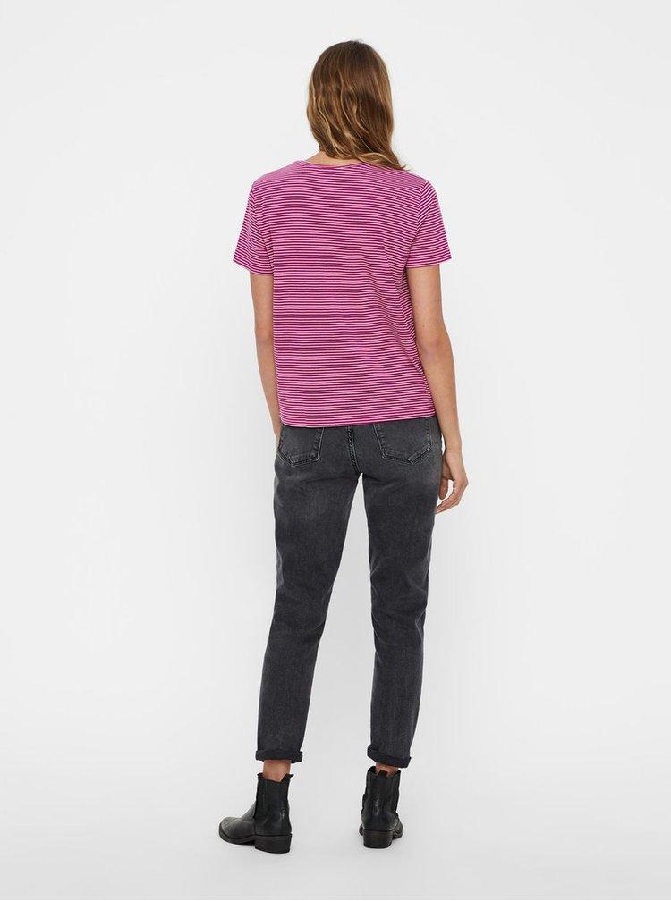 Bielo–ružové pruhované basic tričko s krátkym rukávom AWARE by VERO MODA Mava