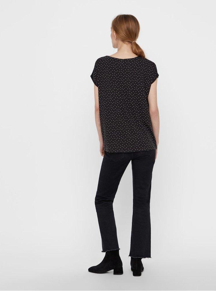 Tricou negru lejer cu buline si maneci scurte AWARE by VERO MODA Plain