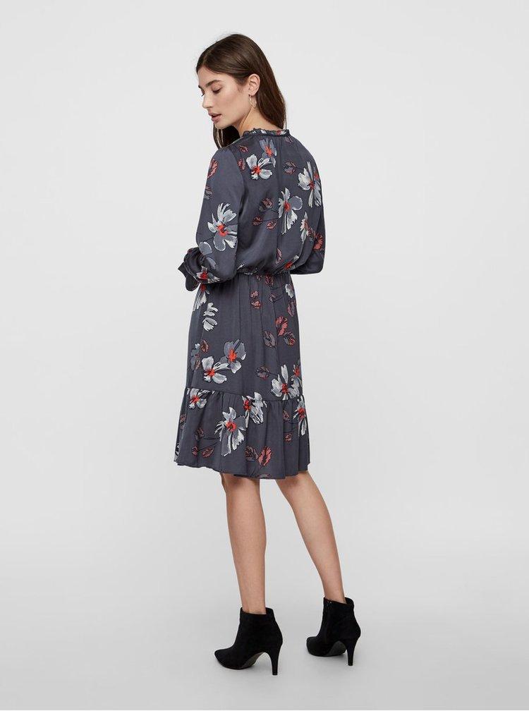 Tmavě šedé květované šaty s volány VERO MODA Isla