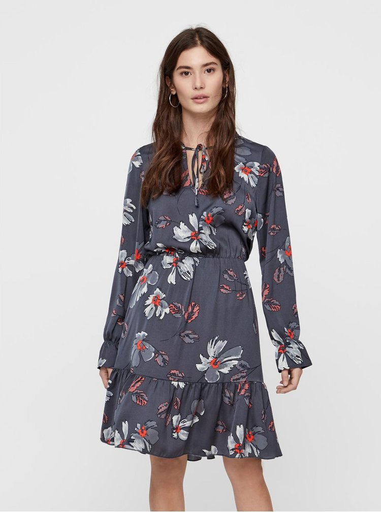 Tmavosivé kvetované šaty s volánmi VERO MODA Isla