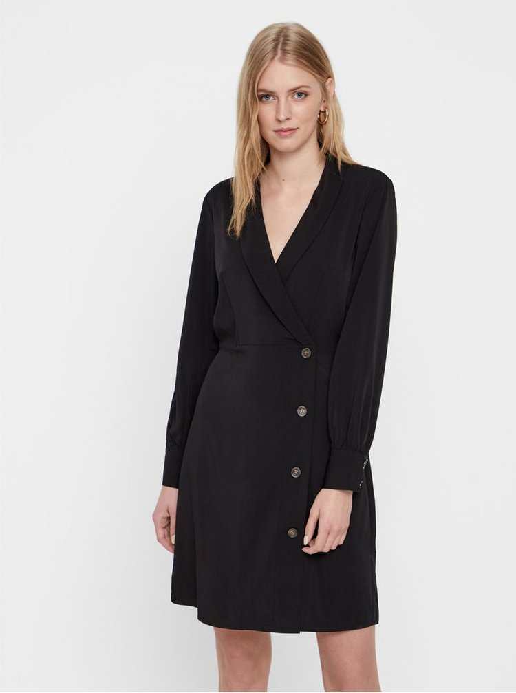Čierne šaty s dlhým rukávom a prekladaným výstrihom VERO MODA Pearl