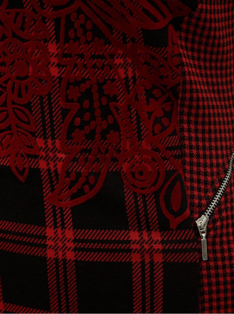 Rochie mulata negru-rosu in carouri cu fermoare decorative Desigual Roma