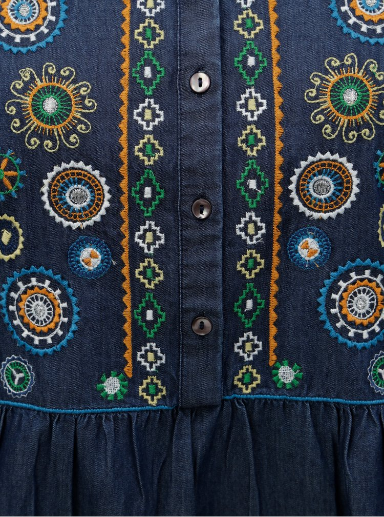 Modrá džínová tunika s výšivkou a rozparky na stranách Desigual Helena