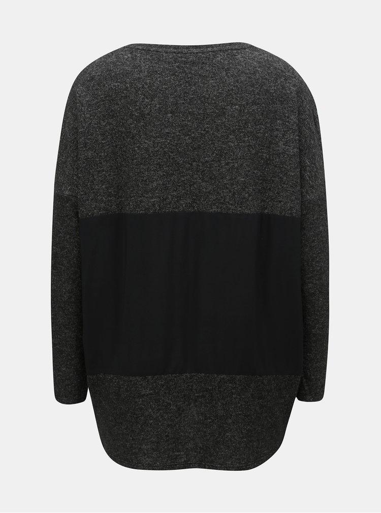 Sivý voľný tenký sveter s potlačou Desigual Kunik