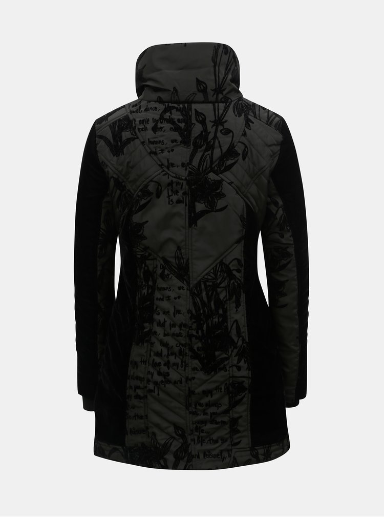 Pardesiu negru de iarna cu model si blana artificiala detasabila Desigual Morgan