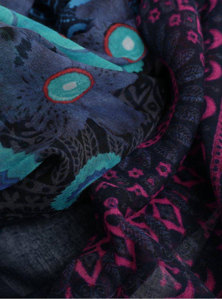 Esarfa albastru inchis cu motiv mandala Desigual Pliss