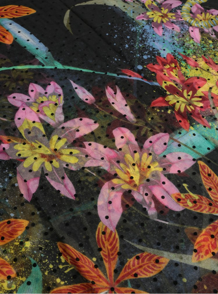 Fular galben-negru floral Desigual Tiger Flower