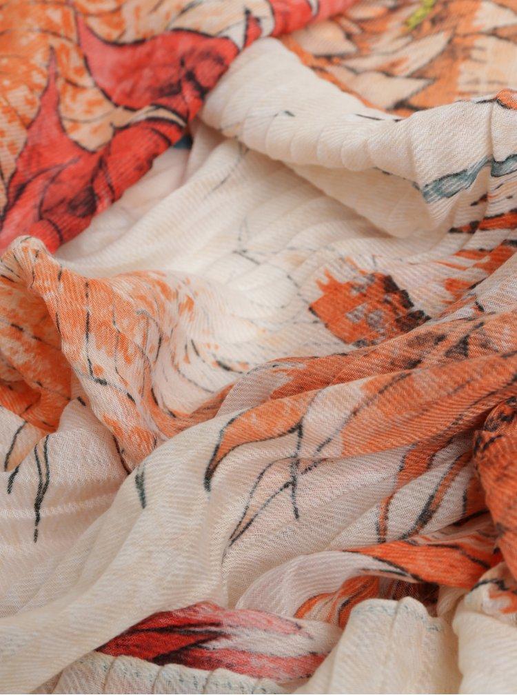 Esarfa oranj-crem florala Desigual Rectangle