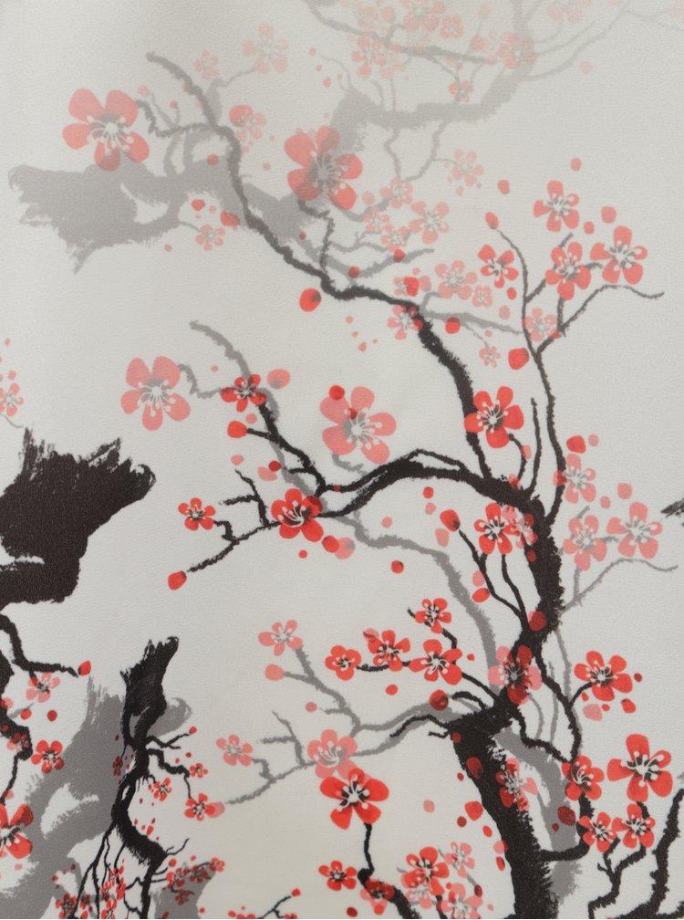 Bílá vzorovaná halenka s průsvitnou zadní částí Desigual Sakura