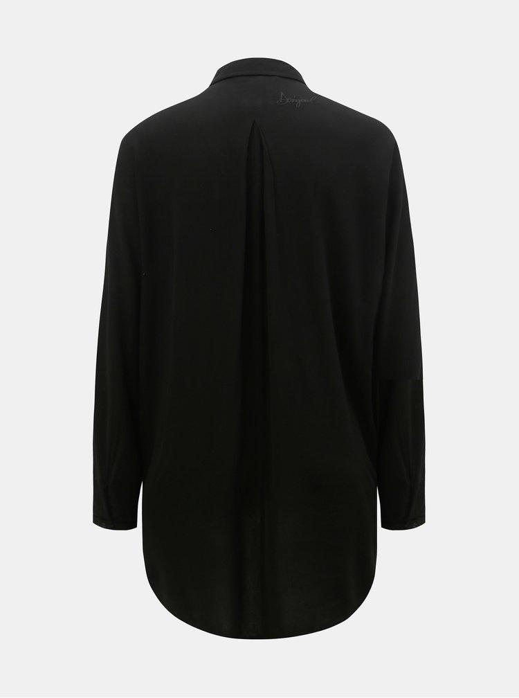 Camasa neagra lejera cu model si spate mai lung Desigual Paula