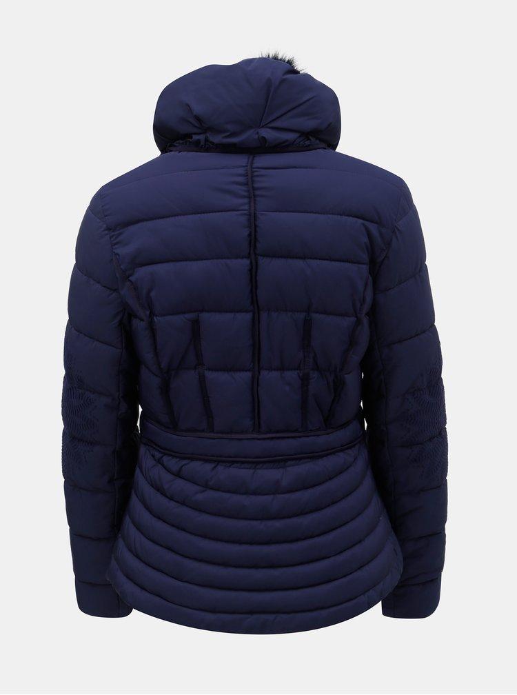Jacheta albastru inchis de iarna cu model si guler detasabil Desigual Komoderi