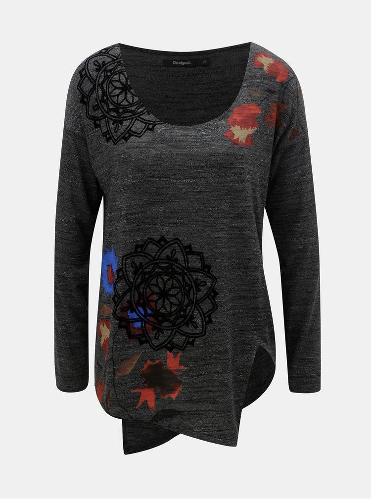 Šedé žíhané volné tričko s motivem Desigual Uma