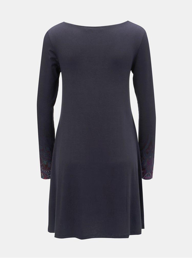 Tmavomodré šaty s potlačou a dlhým rukávom Desigual Troya