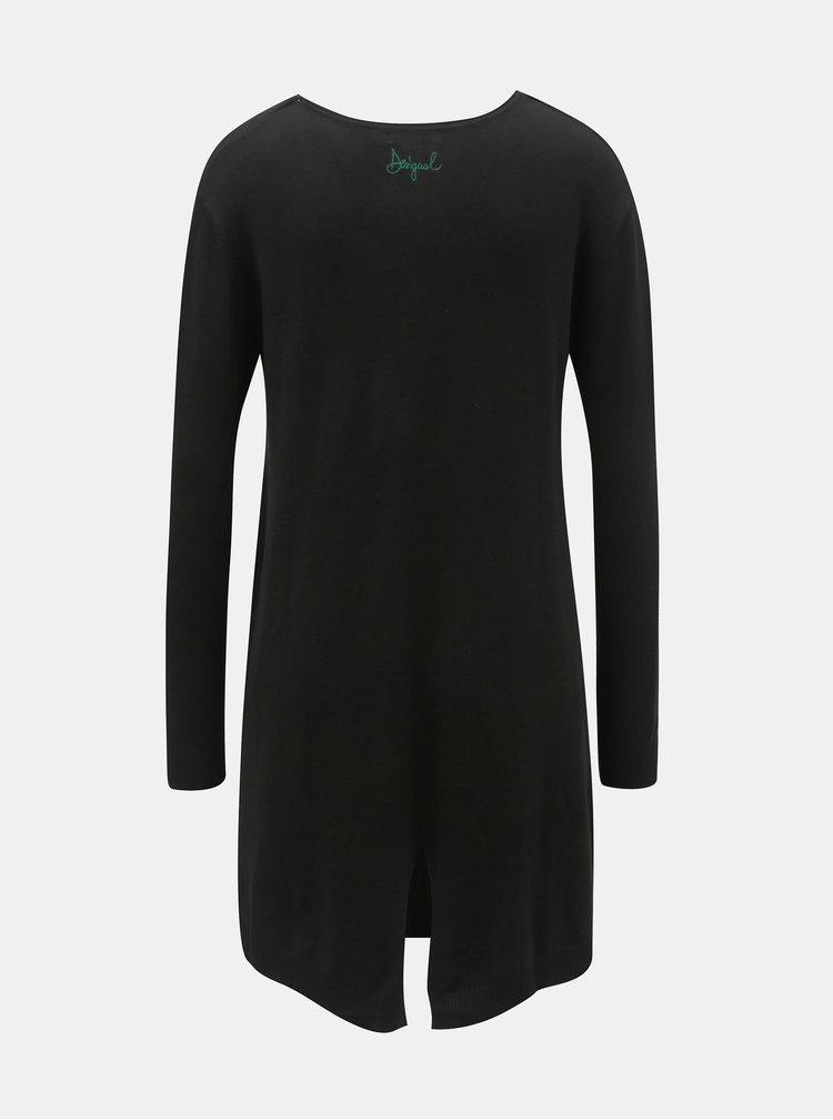 Pulover negru cu model si mai lung Desigual Diane