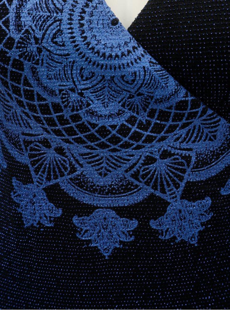 Čierno–modré trblietavé body s prekladaným výstrihom Desigual Elif