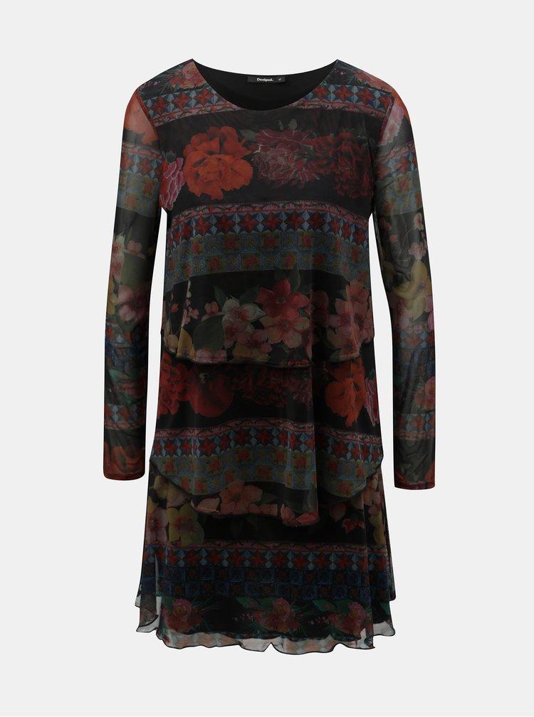 Vínovo-černé vzorované šaty s volány Desigual Logan