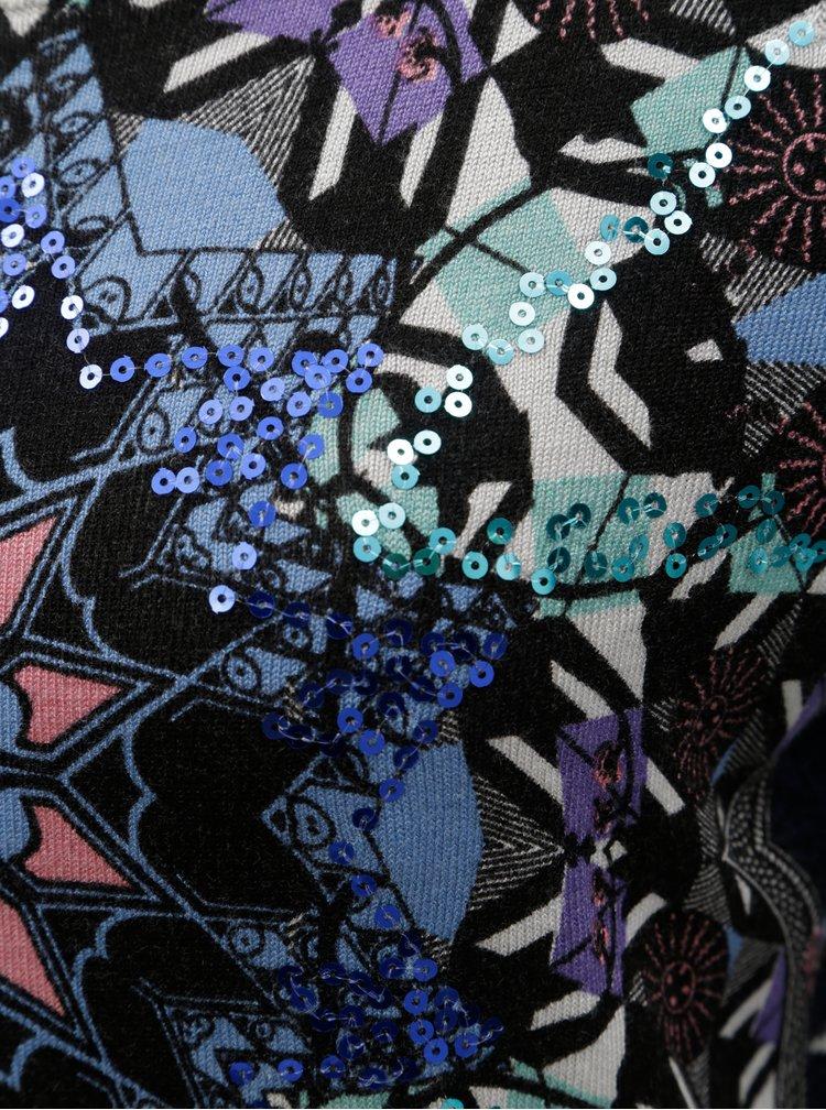 Pulover albastru inchis cu model si paiete Desigual Munich