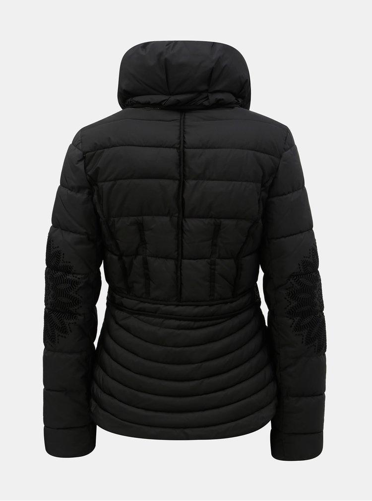 Jacheta neagra de iarna cu guler detasabil Desigual Komoderi