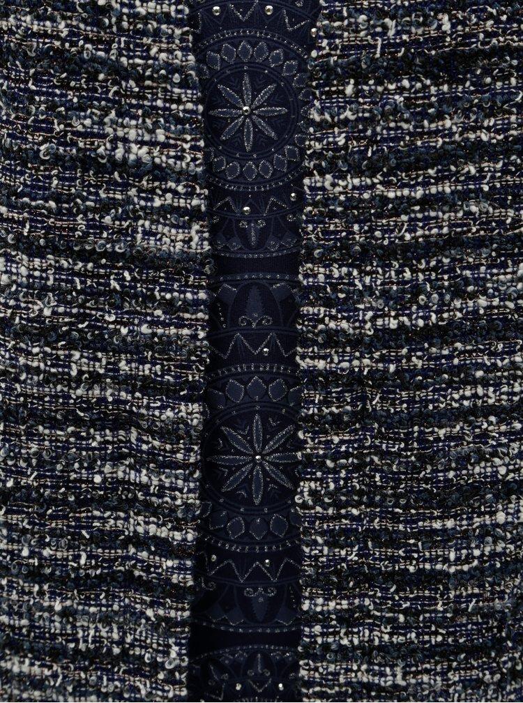 Cardigan crem-albastru melanj cu tricou cusut Desigual Iliana