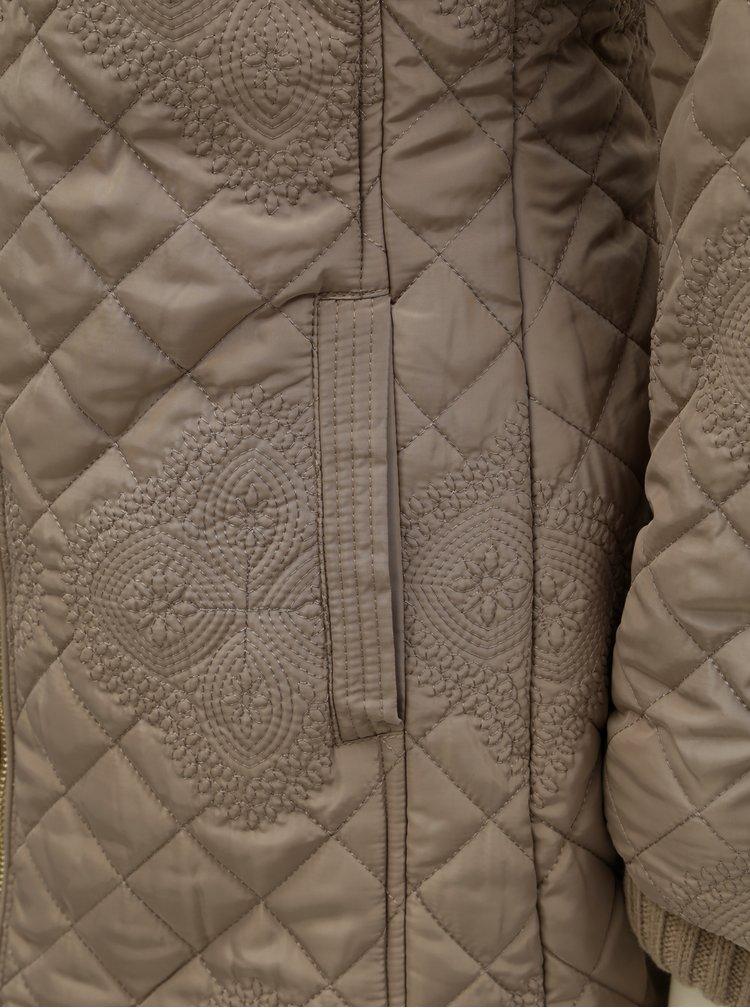Geaca bej de iarna cu partea interioara tricotata detasabila Desigual Maca