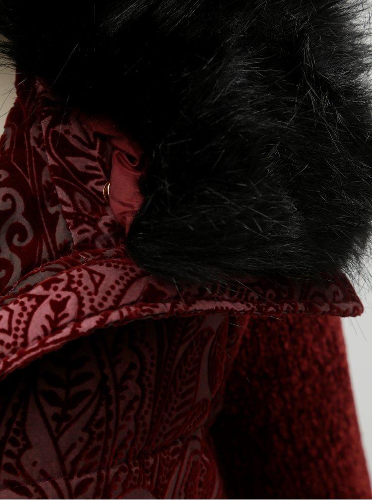 Jacheta/vesta bordo cu model si blana detasabila Desigual Alexandra