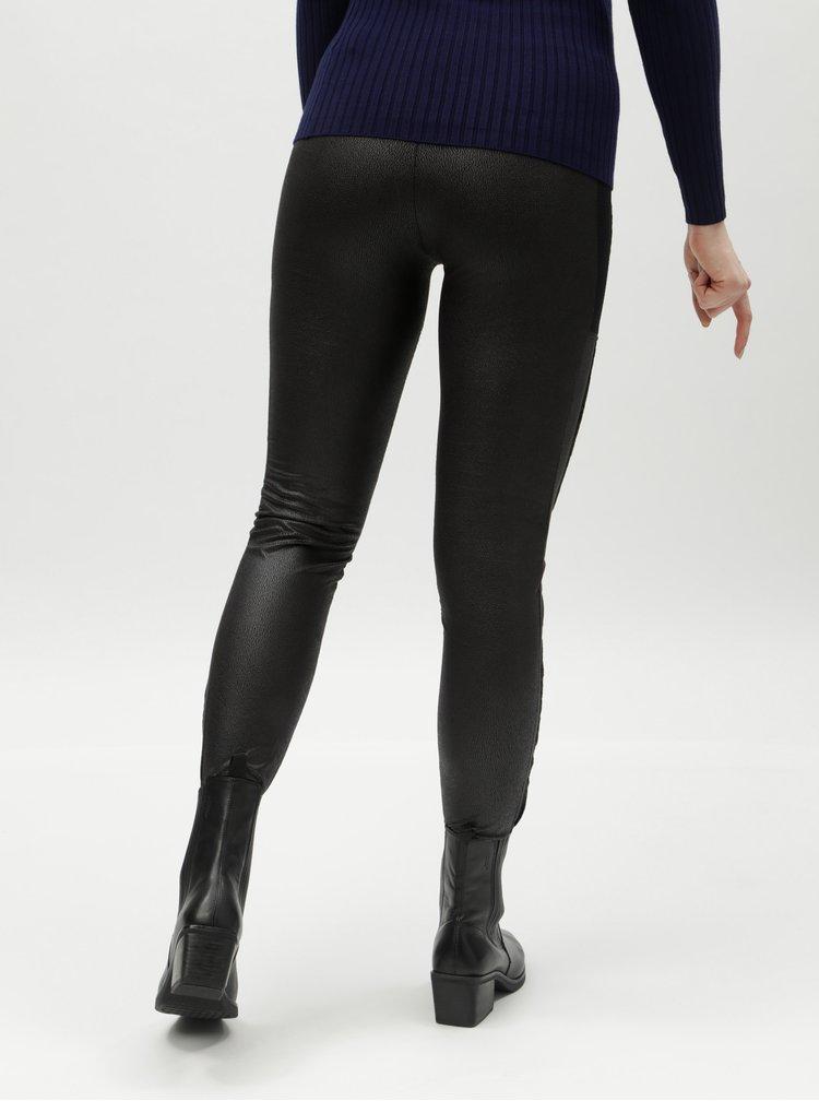 Leggings negri din piele sintetica Desigual Gentle