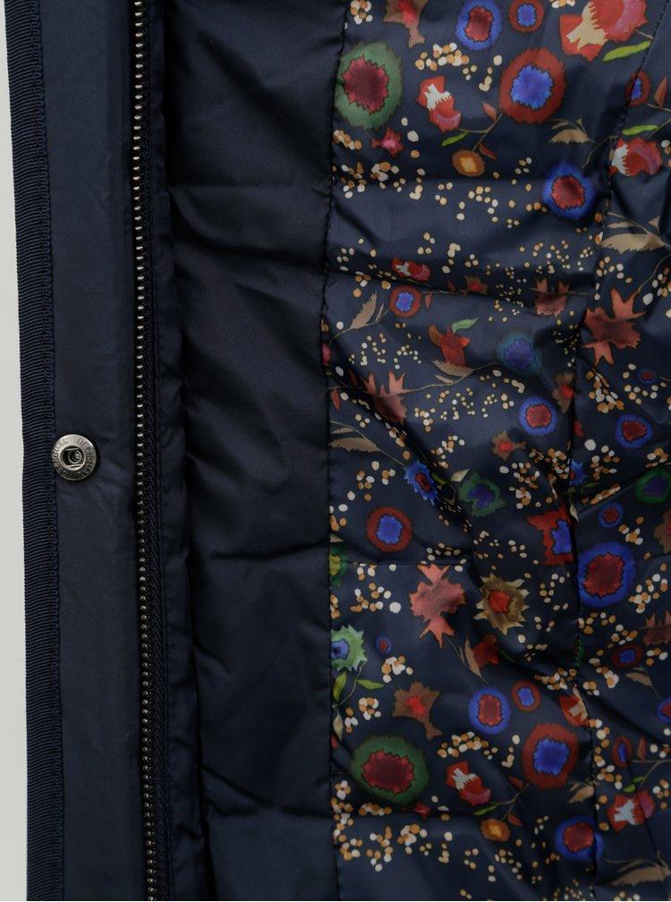 Jacheta/vesta albastru inchis matlasata cu blana artificiala detasabila Desigual Padded Pia