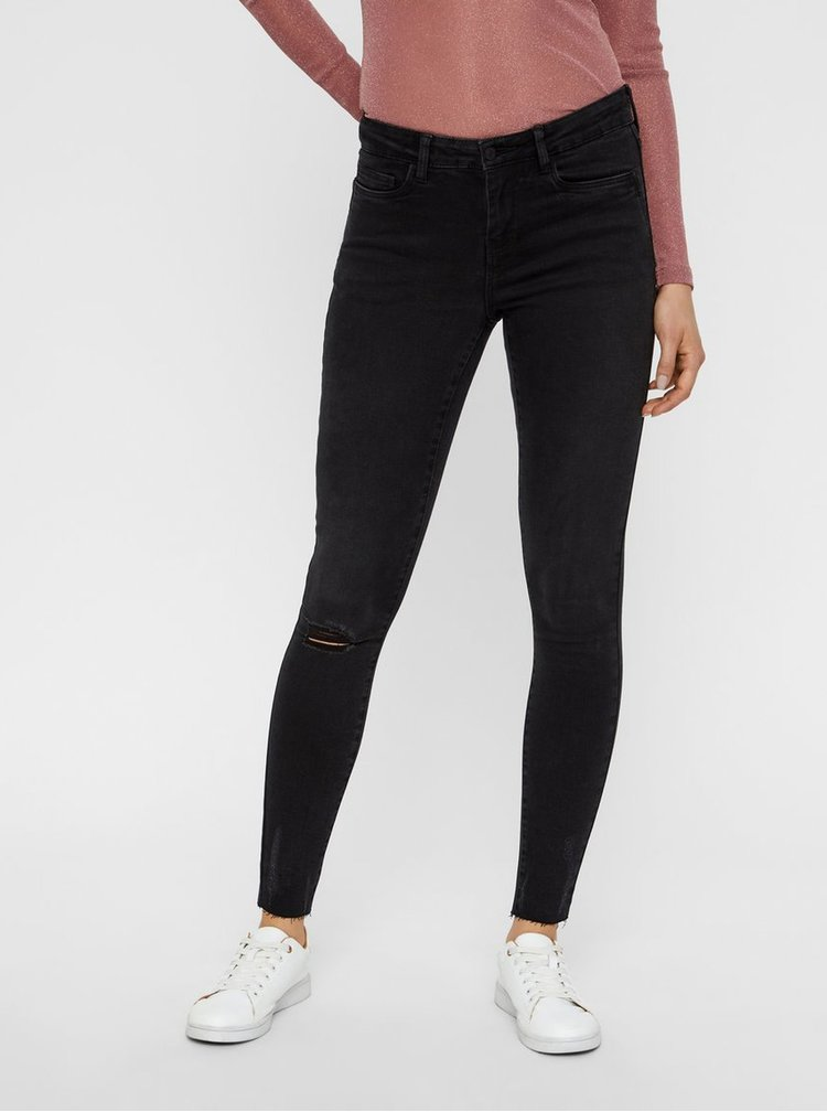 Tmavě šedé skinny džíny s potrhaným efektem Noisy May Lucy