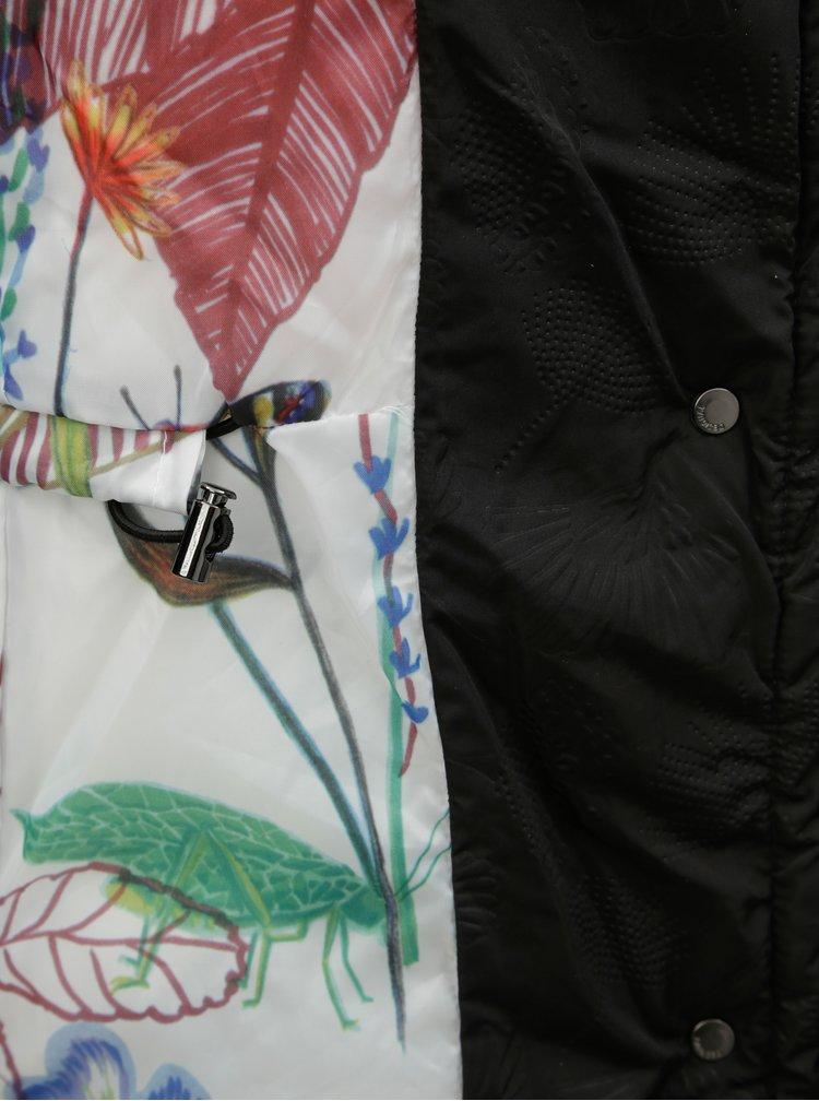 Pardesiu negru matlasat de iarna cu gluga detasabila Desigual Inga