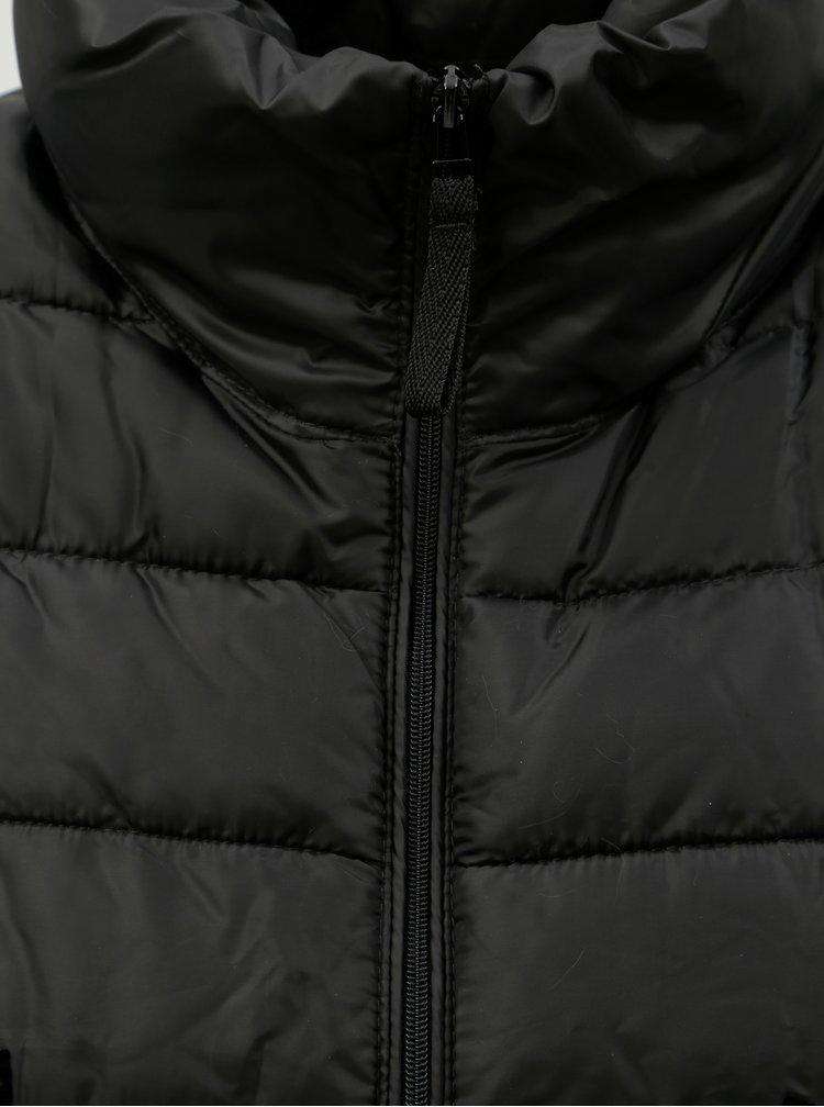 Jacheta neagra de iarna cu imprimeu catifelat Desigual Pune