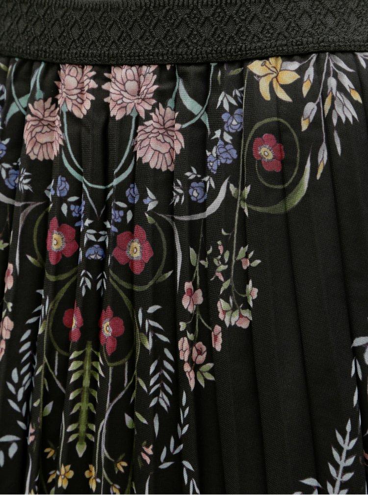 Fusta neagra florala cu pliuri Desigual Frida