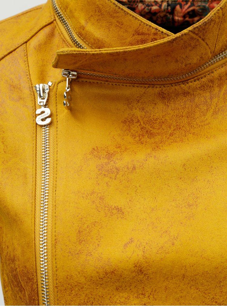 Horčicová koženková bunda s odnímateľným golierom Desigual Merlin