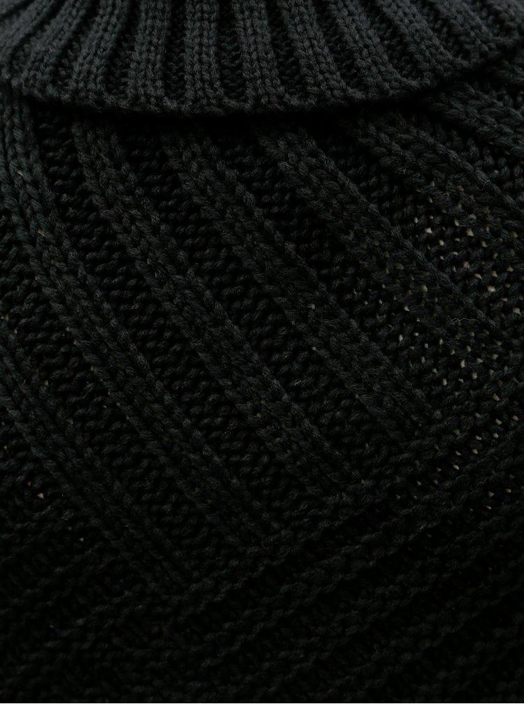 Černé pončo s potiskem a třásněmi Desigual Soft